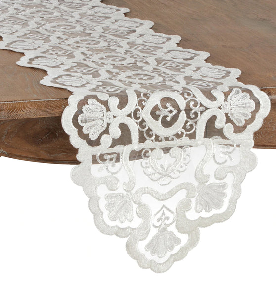 Fennco Styles Elegant Embroidered Floral Lace Table Runner - Ivory Table Cover for Everyday Use, Banquets, Wedding and Special Occasion