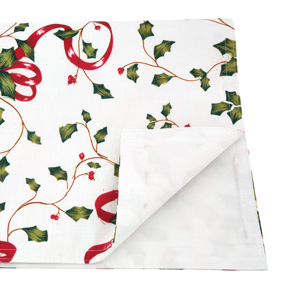 Fennco Styles Holiday Holly Collection Classic Holly Berry with Ribbon Printed Table Linens