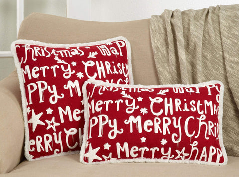 Fennco Styles Eira Collection Happy Merry Christmas Print Fur Trim Variety Size Pillow