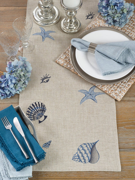 "Fennco Styles Creative Stitched Seaside Decor Linen Table Runner, 16""x70"""