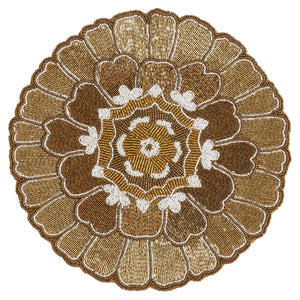 Fennco Styles Sanskrit Collection Vintage Open Floral Glass Beaded 14 x 14 Inch Place Mat