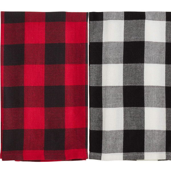 Fennco Styles Two Tone Plaid Cotton Kitchen Dish Towels