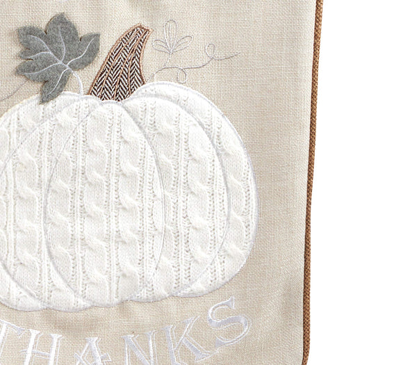 Fennco Styles Fall Season Appliqué Knit Harvest Pumpkin Jute Embroidered - Neutral Throw Pillow for Couch, Living Room, Bedroom and Home Décor