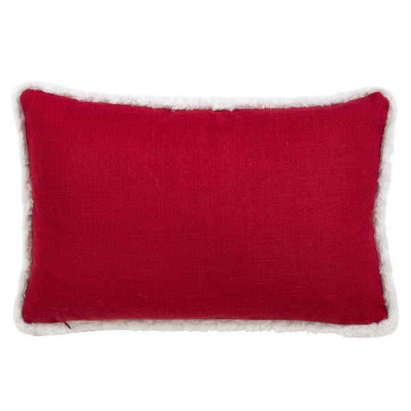 Fennco Styles Eira Collection Happy Merry Christmas Print Fur Trim Variety Size Pillow - Red Throw Pillow for Couch, Living Room and Holiday Décor