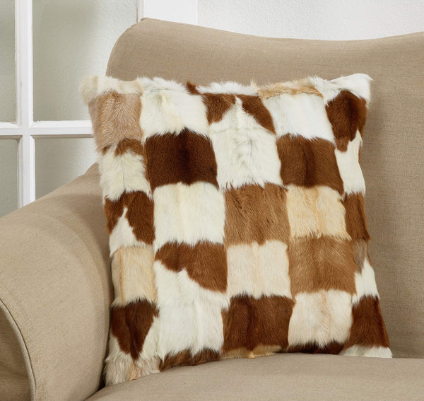 Fennco Styles Rustic Goat Fur Patchwork 18 x 18 Inch Decorative Throw Pillow with Case & Insert