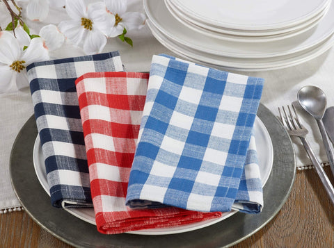 Gingham Collection Farmhouse Plaid Cotton Table Linens