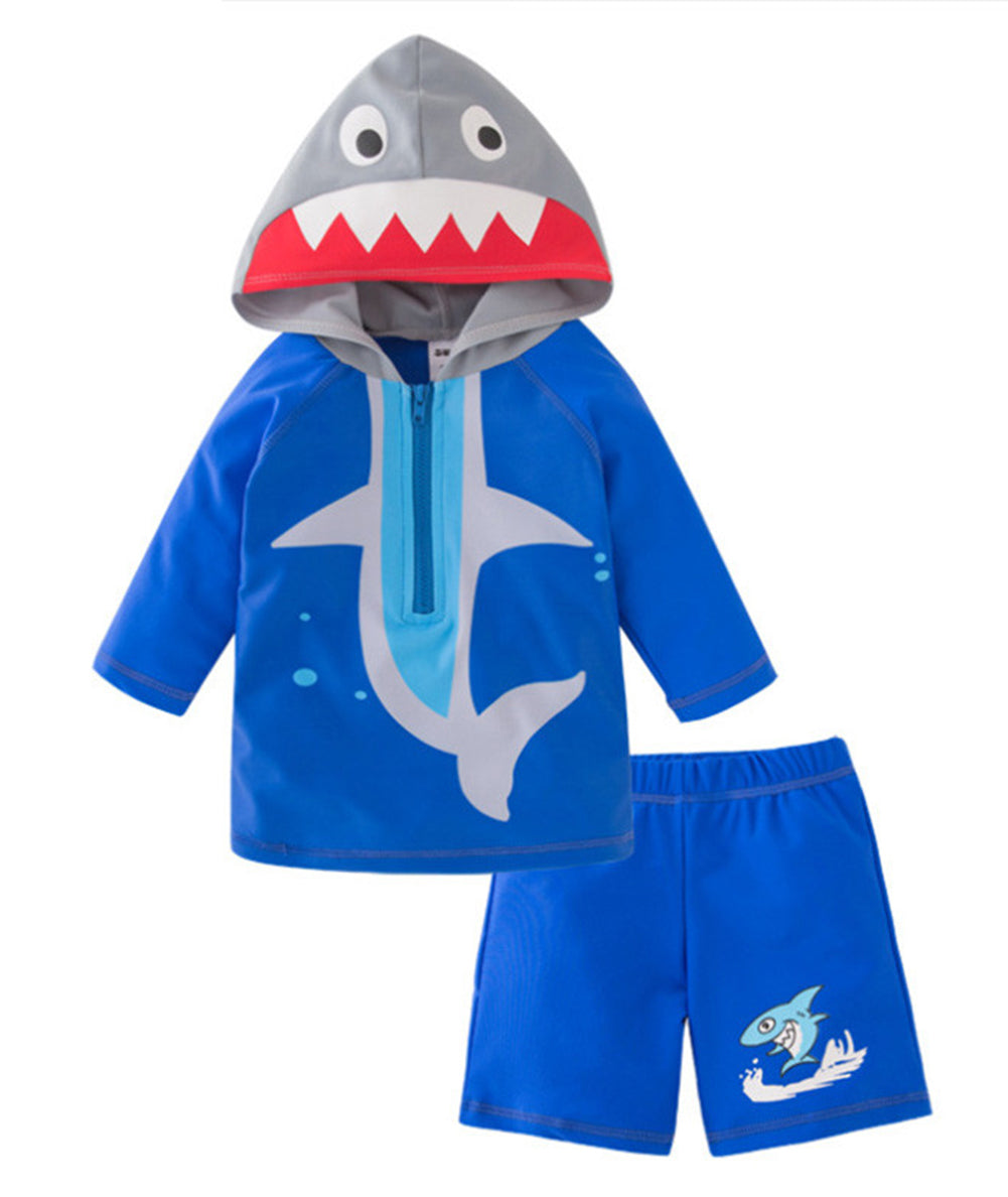 StylesILove Toddler Kid Boys Shark Hooded Rash Guard and Shorts 2pcs Swimsuit Bathing Suit Beach Pool Swimwear