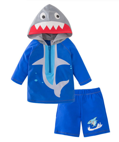 StylesILove Toddler Kid Boy Shark Hooded Rash Guard and Shorts 2pcs Swimsuit Bathing Suit Beach Pool Swimwear