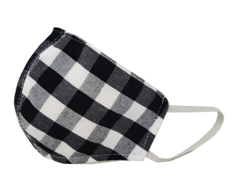 Adult Child Gingham Print 3D 3-Layer Face Mask Criss Cross Elastic Around Back
