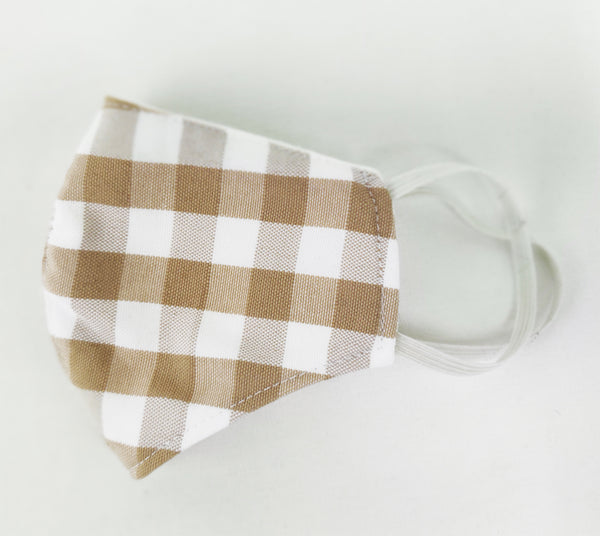 Fennco Styles Adult Child Gingham Plaid Print 3D Face Mask Breathable Triple Layered Protective Mask Washable Reusable Face Cover - Handmade In USA