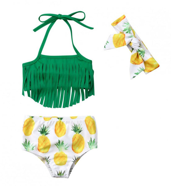 StylesILove Infant Baby Girls Fringe Pineapple Bikini Swimsuit with Headband 3pcs Green Bathing Suit Beach Pool Swimwear