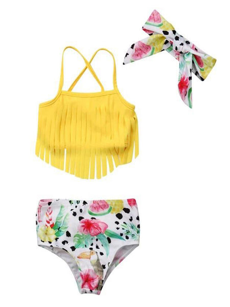 StylesILove Infant Baby Girls Yellow Fringe Tropical Bikini Swimsuit with Headband 3pcs Bathing Suit Beach Pool Swimwear