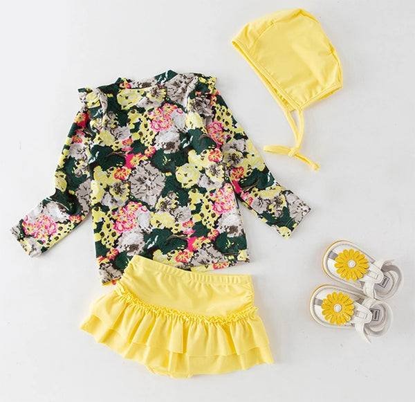 Styles I Love Toddler Little Girls Floral Print Rash Guard and Ruffle Bottoms with Swim Hat 3pcs Swimsuit Beachwear