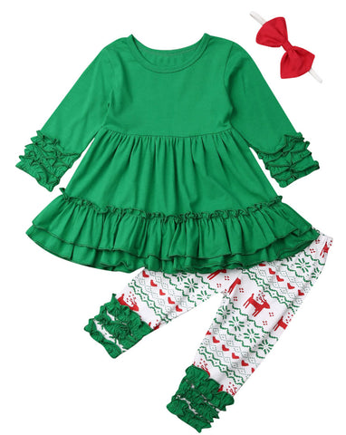 Styles I Love Baby Toddler Girls Green Ruffle Long Sleeve Top and Christmas Pattern Pants 2pcs Cotton Holiday Elf Outfit