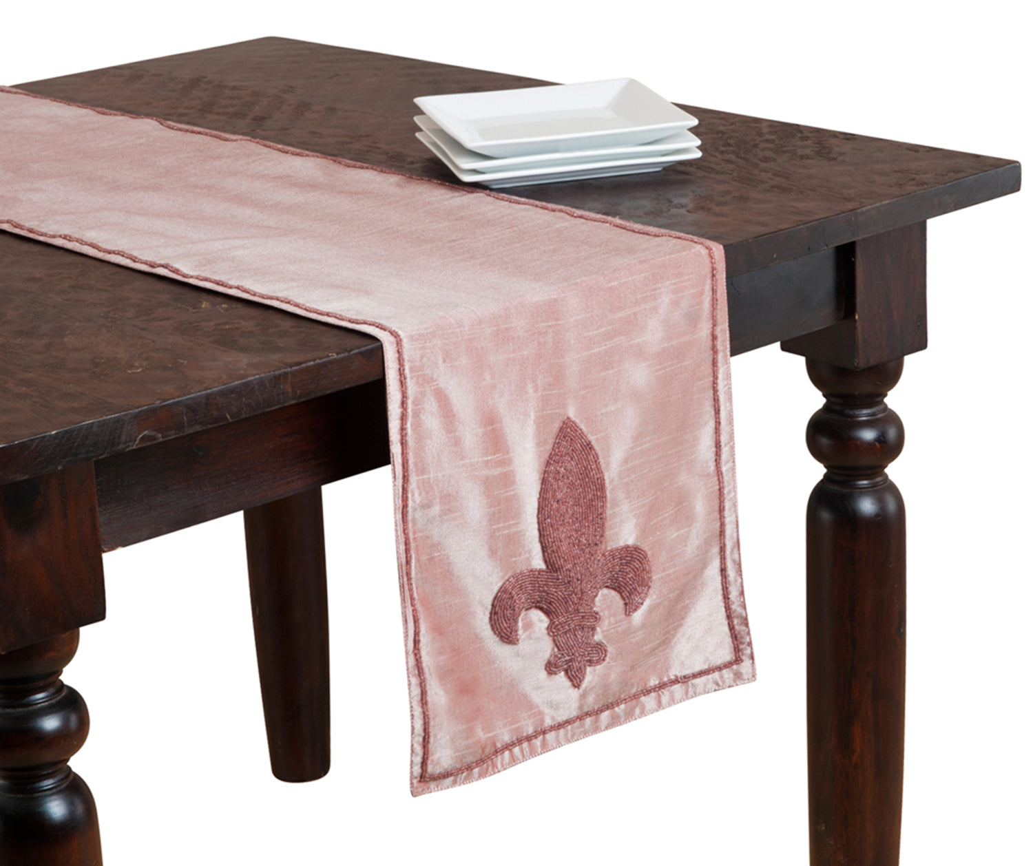 "Fennco Styles Orleans Hand Beaded Fleur-de-lis Table Runner. 13"" x 72"" Rectangular. One Piece. Dusty Rose"