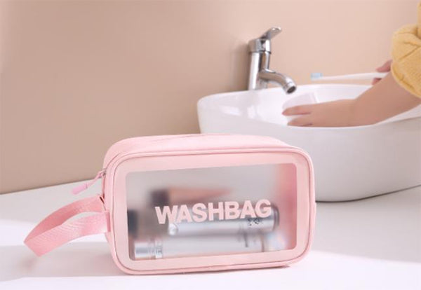 StylesILove Women Girls Transparent Cosmetic Makeup Bag Travel Wash Bag Multi-use Case Zip Top Toiletry Bag
