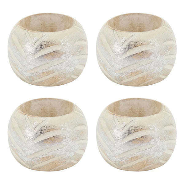 Fennco Styles Distressed Foil Print Design Wood Napkin Rings, Set of 4, 2 Colors