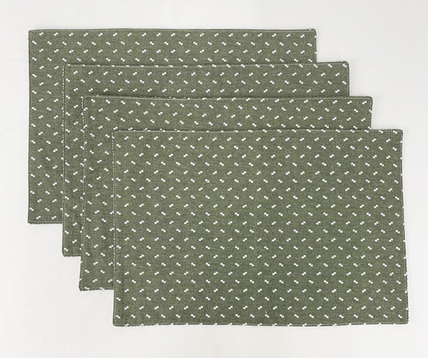 "Fennco Styles Reversible Design Cotton Blend Placemats 12"" W x 18"" L, Set of 4"