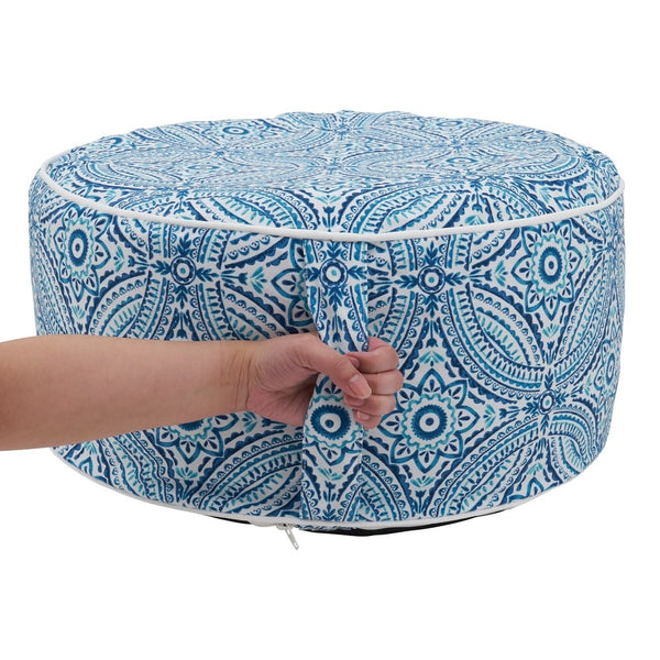 Modern Tropic Design Round Indoor & Outdoor Pouf