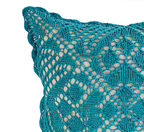 "Fennco Styles Teal Handmade Crochet Lace Design Cotton Throw Pillow 17"" W x 17' L"