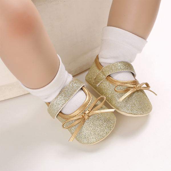Styles I Love Infant Baby Girl Princess Bow Glitter Flats Pre-Walker Crib Shoes Anti-Slip Mary Jane Shoes, 0-18 Months, 5 Colors