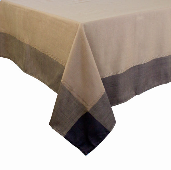 Fennco Styles Contemporary Solid Color Border 55 x 55 Inch Tablecloth - Blue/Brown Table Cover for Holiday, Banquets, Outdoor Parties, Special Events and Home Decor