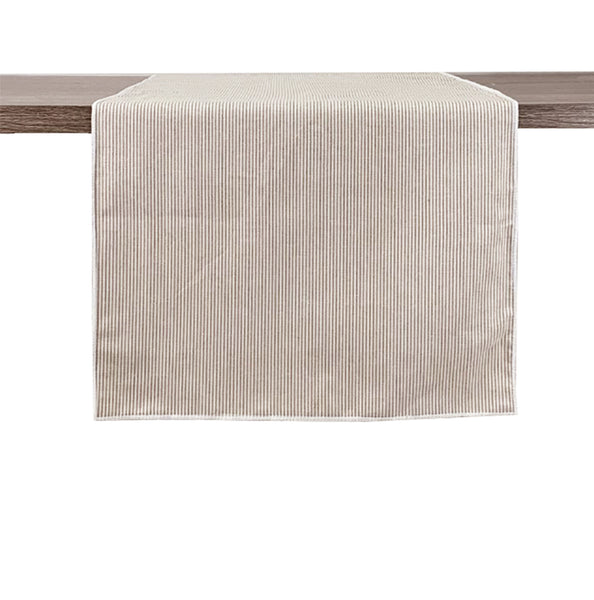 Fennco Styles Classic Striped Design 100% Pure Cotton Table Runner - Neutral Table Cover for Home Decor, Dining Table, Banquets, Family Gathering and Special Occasion