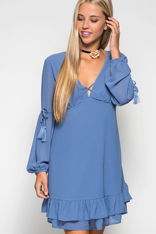 She and Sky Long Sleeve Dress With Tassel and Ruffle Details