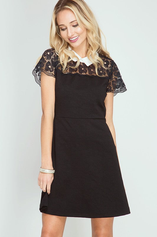 She and Sky Black Skater Dress With Lace and White Collar