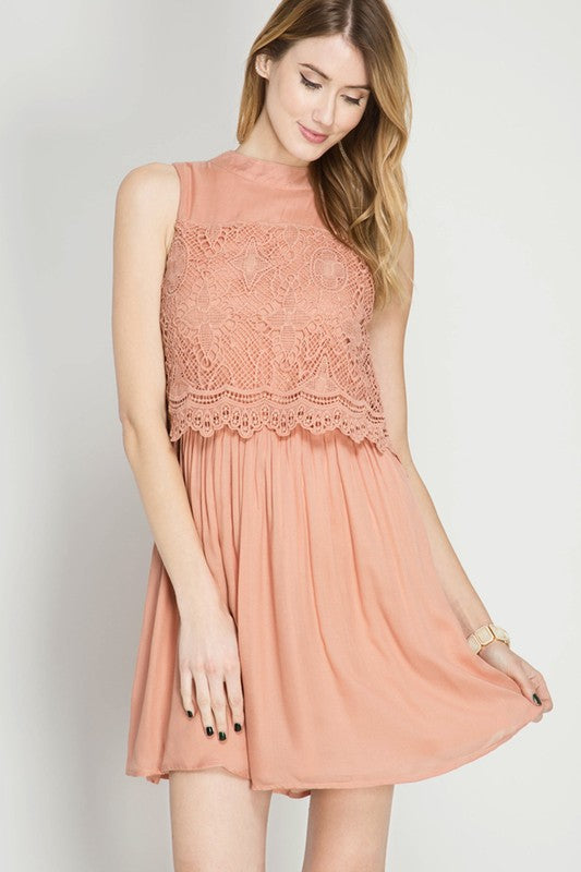 She and Sky Lace Overlay Skater Dress