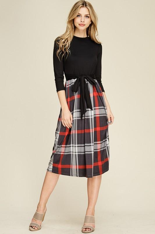 8d5e4f6fd42 We love the feminine bow at the waist of this two-piece dress with plaid  skirt. The midi length is so trendy. Reborn J knows how to bring a special  touch to ...