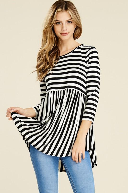 VERTICAL AND HORIZONTAL STRIPE BABYDOLL TUNIC