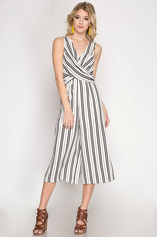 f4140261256 Sleeveless Striped Jumpsuit With Front Cross Detail - Women s ...