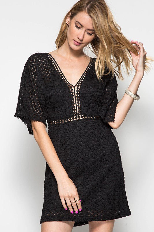 6228758553f9 Black Half Open Sleeve Lace Dress With Contrast Trim Summer ...
