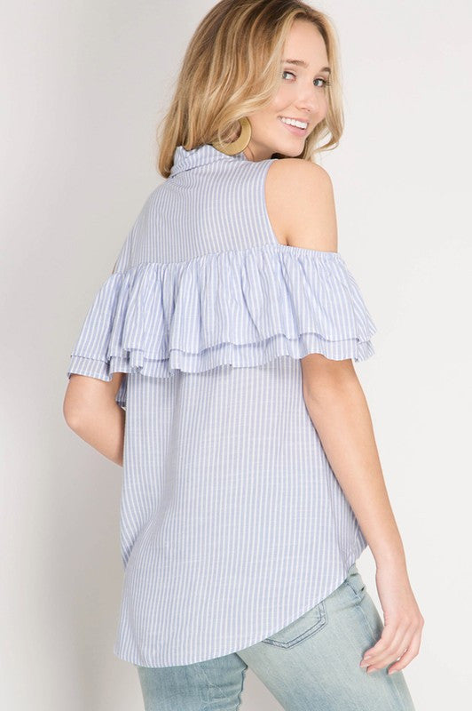 48c545ac058afb Ruffled Cold Shoulder Striped Button Down Top With Twist Bottom ...