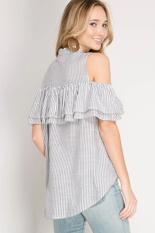 740b0bac58103a Ruffled Cold Shoulder Striped Button Down Top With Twist Bottom ...