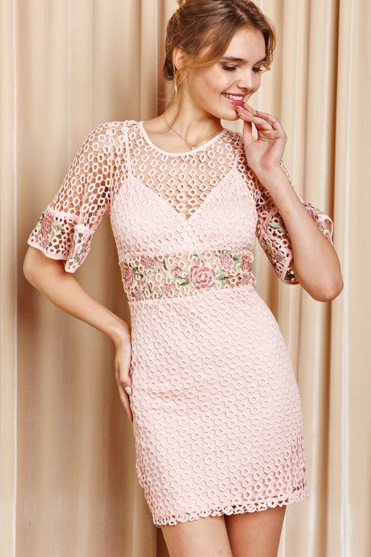 d32313a13 Crochet Mini Dress W  Floral Sleeve - Dress Album