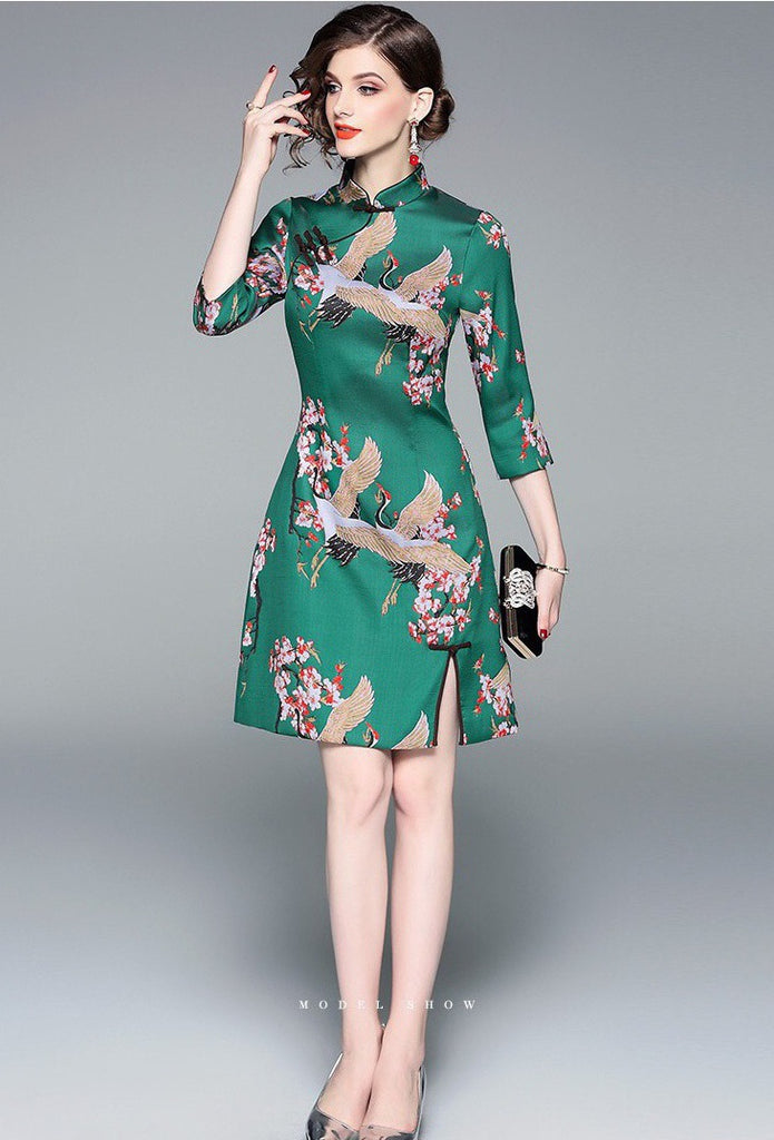 9b87a9eb9 Green Crane Jacquard Weave Qipao Dress - Women's Cheongsam - Dress Album