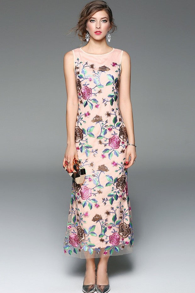 Floral Embroidered Maxi Dress · Floral Embroidered Maxi Dress ...