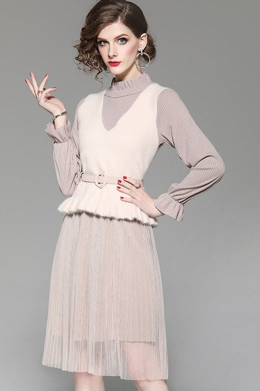 dd0600fd9a7 Knit and Mesh Dress With Vest - Women s Dress Set