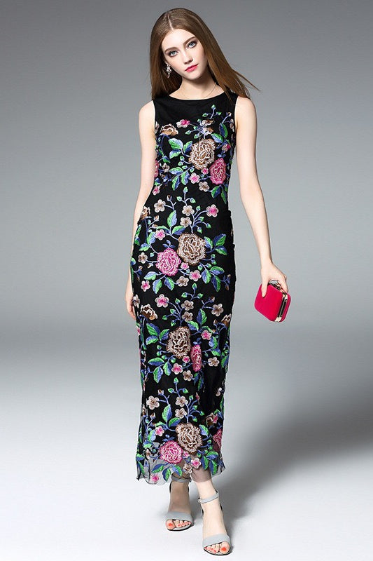 All Floral Embroidered Maxi Dress ...