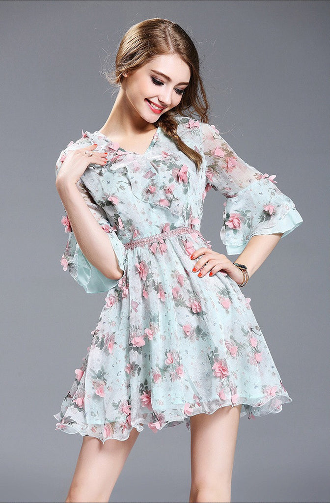 1222b95e2f93 Chic Fit and Flare Chiffon Mini Dress Delicate 3D Petals Free Shipping -  Dress Album