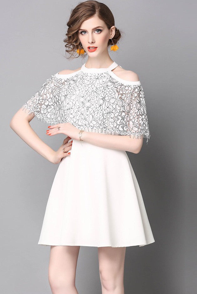 855531d8d792e White Halter Neck Cold Shoulder Dress With Lace Overlay Free ...