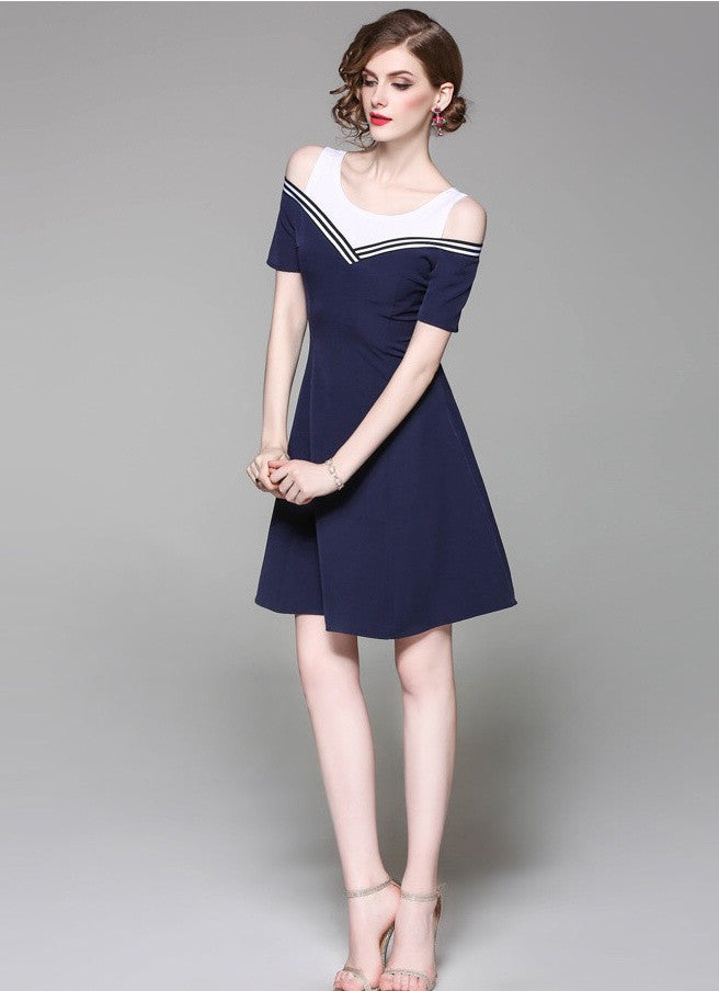 1358cb1ea1b Navy   White Contrast Cold Shoulder Fit and Flare Dress Free ...
