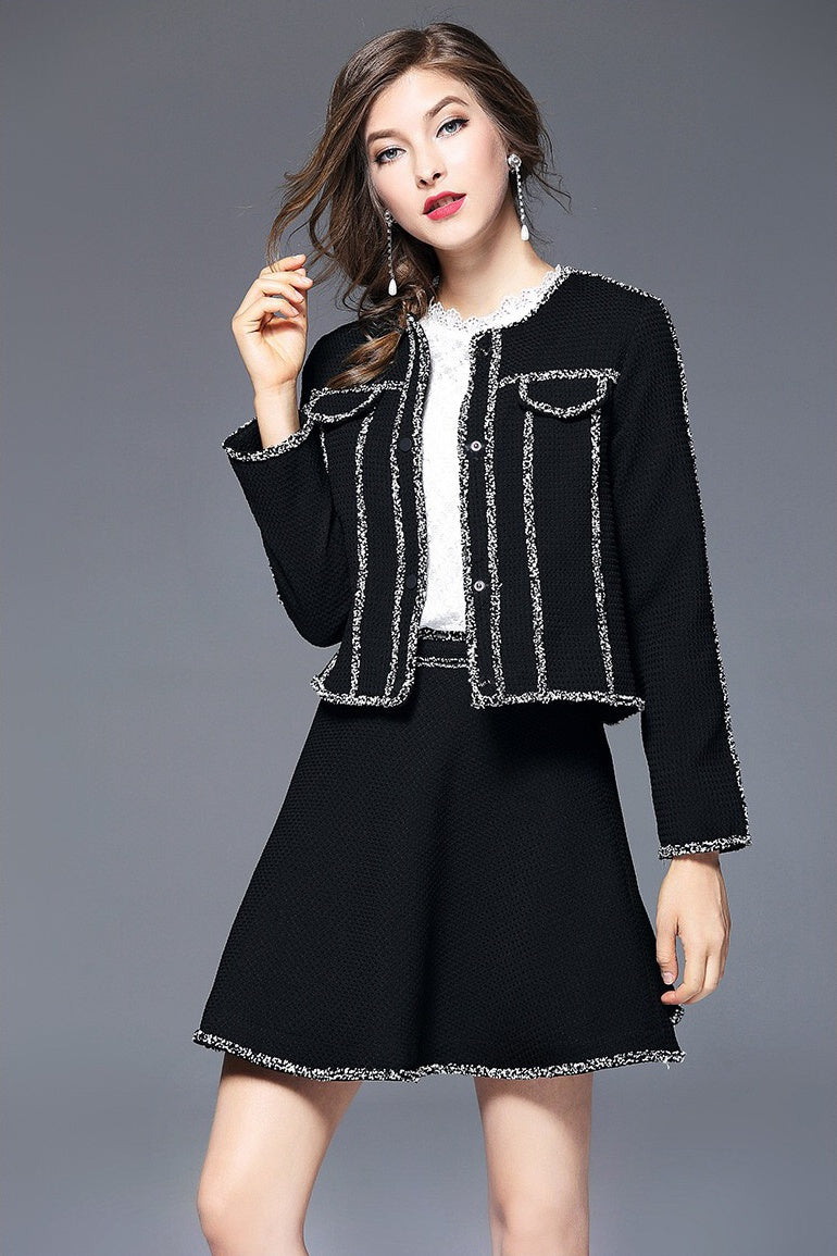 Chic Black Jacket and Skirt Set With White Piping | Dress ...