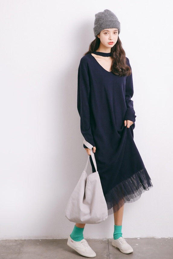 Choker Neck Lace Hem Sweater Dress