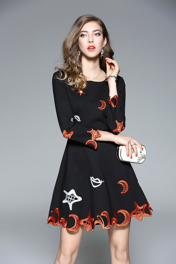 2e826709597 Navy Floral Embroidered Midi Dress - Fit and Flare Dress