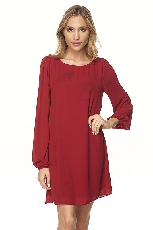 55c29992c279 Long Bell Sleeve Shift Dress - Dress Album