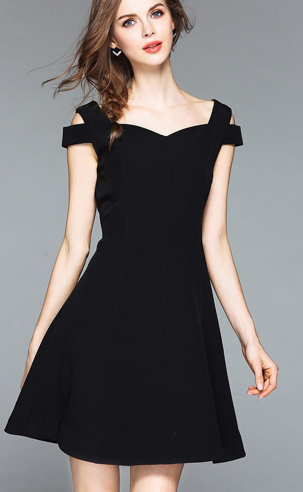 75f97882a0 Cold Shoulder Little Black Skater Dress - Black Dress
