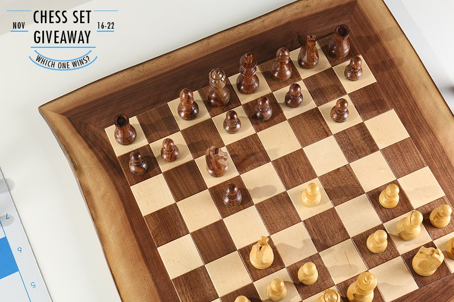 Chess Set Giveaway Natural Edge Board